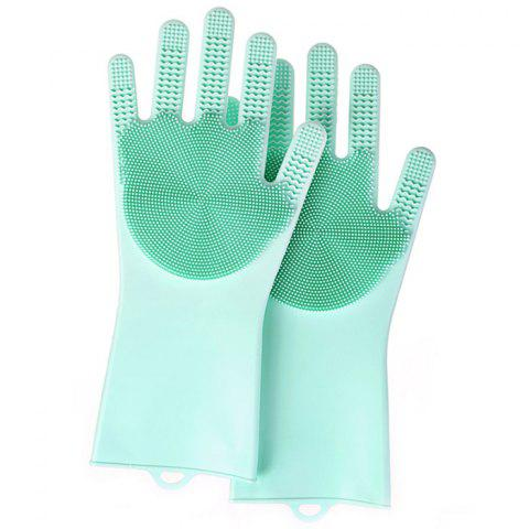 Home Kitchen Supplies Silicone Cleaning Brush Anti-skid Housework Double-sided Dishwashing Gloves A Pair - LIGHT CYAN