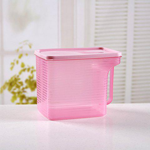 Plastic Storage Box Stackable Refrigerator Storage Box With Handle Transparent Food Sealed Box - BLUSH RED