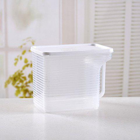 Plastic Storage Box Stackable Refrigerator Storage Box With Handle Transparent Food Sealed Box - WHITE