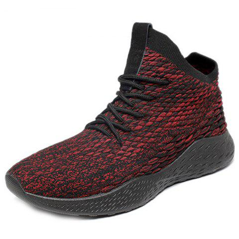 Men Light Sneakers Casual Woven Fabric Breathable - RED WINE EU 44