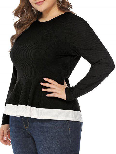 Plus Size Two Tone Ruffle T Shirt - BLACK 2X