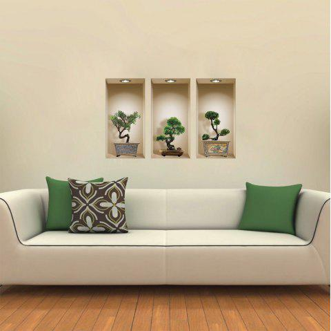 Creative Decoration Pine Bonsai Potted 3D Wall Sticker 3pcs - multicolor