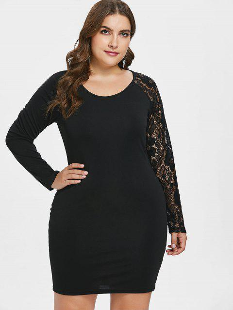 Plus Size Lace Panel Ruched Bodycon Dress