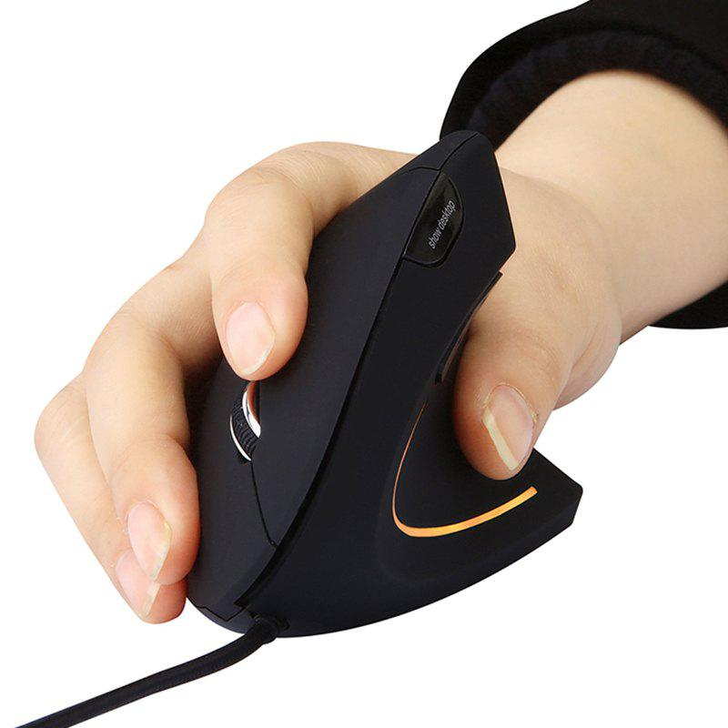 MODAO E1803 Ergonomic High Precision Optical Vertical USB Wired Mouse with Adjustable DPI - BLACK