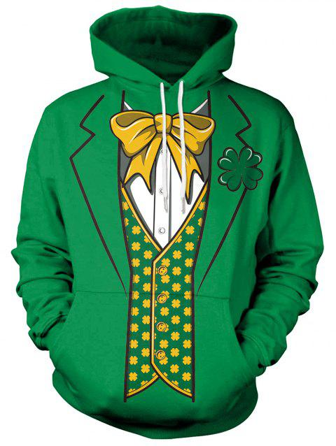 3D Bowknot Printed Pullover Hoodie - MEDIUM FOREST GREEN L