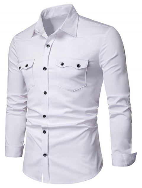 Chest Flap Pockets Casual Long Sleeve Shirt - WHITE M