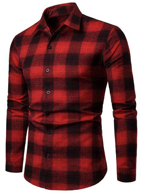 Contrast Plaid Print Button Up Long Sleeve Shirt - RED M