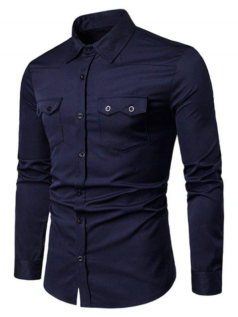 Chest Flap Pockets Casual Long Sleeve Shirt - CADETBLUE L