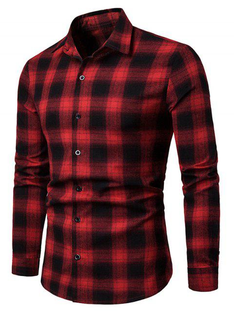 Tartan Print Long Sleeve Casual Shirt - RED L