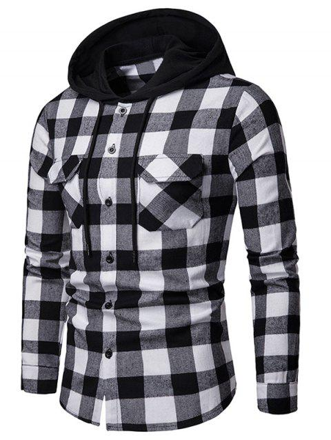 Flap Pocket Hood Patchwork Contrast Plaid Shirt - BLACK XL