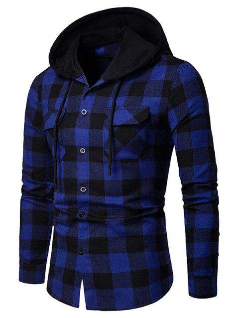 Flap Pocket Hood Patchwork Contrast Plaid Shirt - BLUE M