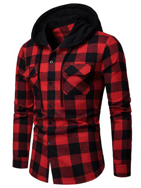 Flap Pocket Hood Patchwork Contrast Plaid Shirt - RED 2XL
