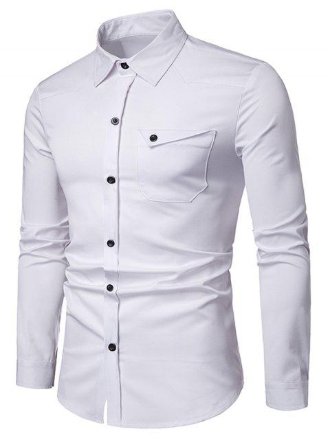Chest Pocket Solid Long Sleeve Shirt - WHITE 2XL