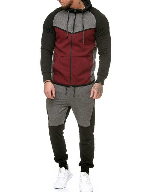 Contract Color Fleece Hooded Jacket and Jpgger Pants - RED WINE XL
