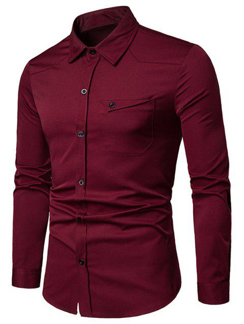 Chest Pocket Solid Long Sleeve Shirt - RED WINE M