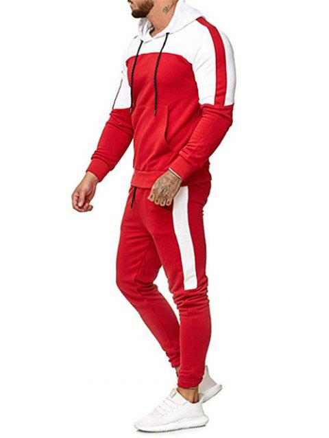 Color Block Pullover Hoodie and Casual Jogger Pants - RED 3XL