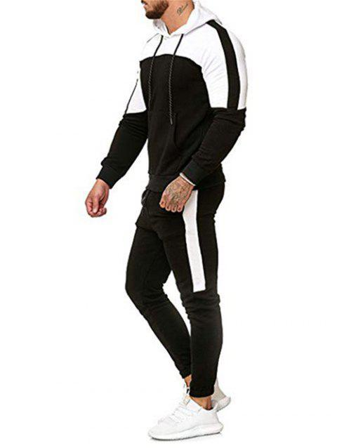 Color Block Pullover Hoodie and Casual Jogger Pants - BLACK XL