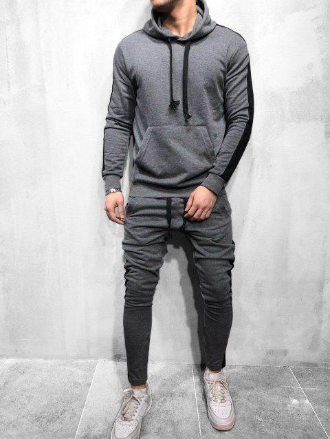 Color Spliced Hoodie and Pants - GRAY 3XL