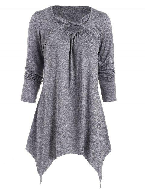 Marl Hanky Hem Twisted Strap Mini Dress - GRAY 2XL