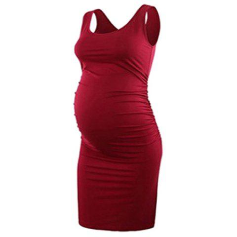 Round Neck Sleeveless Vest Solid Color Maternity Dress - RED S