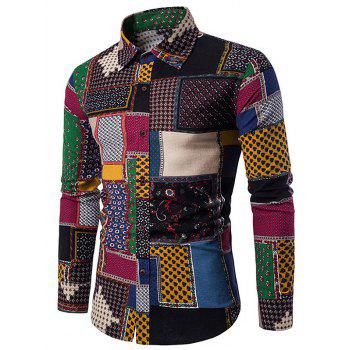 Button Up Ethnic Geometric Print Shirt