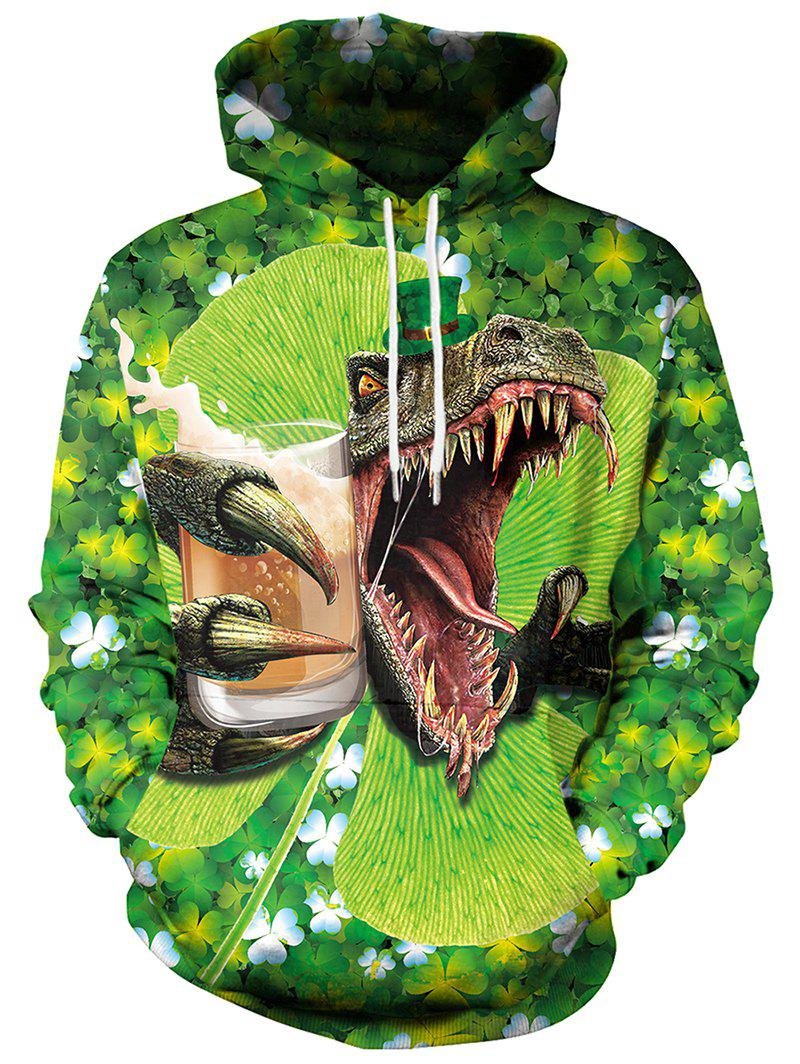 3D Clover Dinosaur Printed Pullover Hoodie - GREEN XL