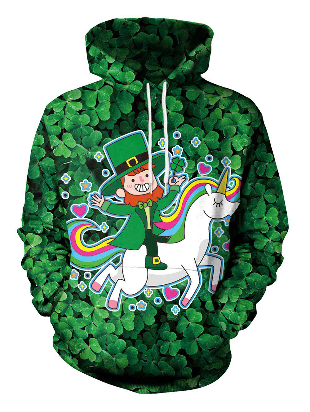 Clover and Unicorn Pattern Pullover Hoodie - DARK FOREST GREEN L
