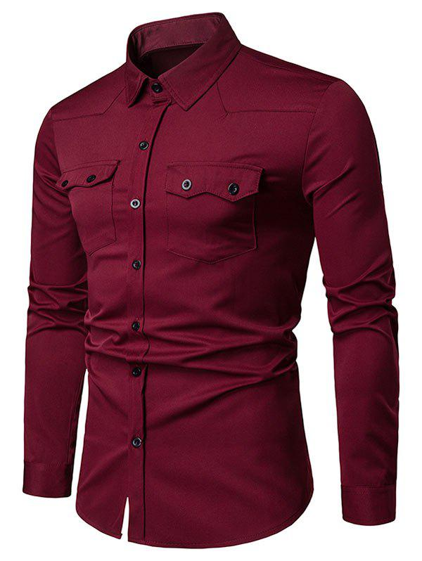 Chest Flap Pockets Casual Long Sleeve Shirt - RED WINE L