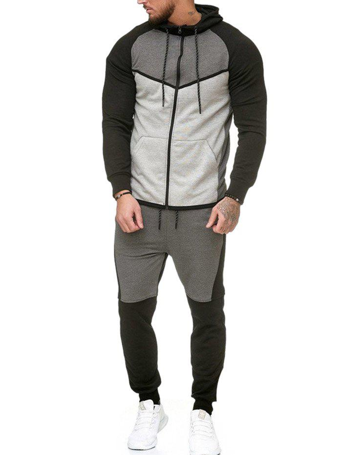 Contract Color Fleece Hooded Jacket and Jpgger Pants - GRAY L