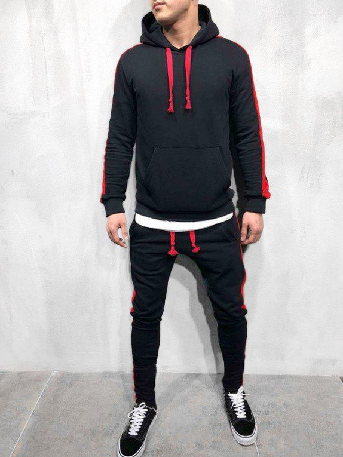 Color Spliced Hoodie and Pants - BLACK 2XL