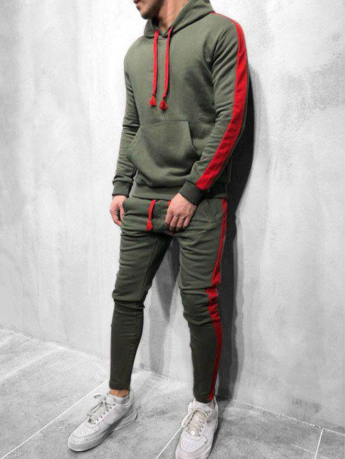 Color Spliced Hoodie and Pants - ARMY GREEN 2XL