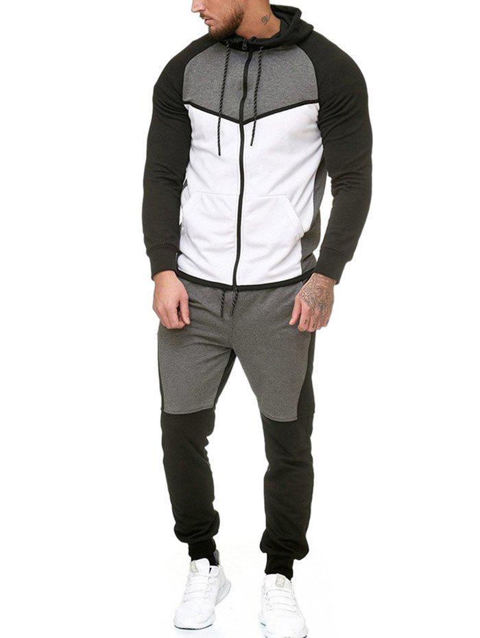 Contract Color Fleece Hooded Jacket and Jpgger Pants - WHITE L