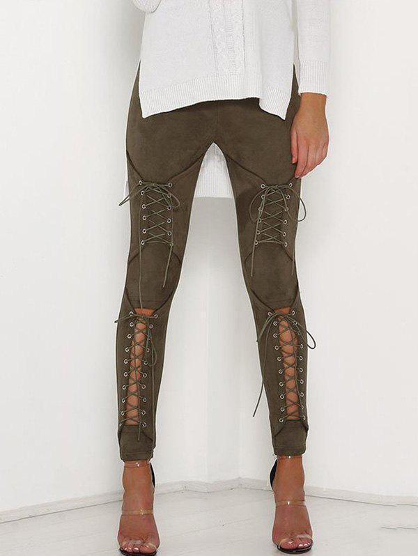 Corns Hollowed Out Tights Pencil Trousers - ARMY GREEN L