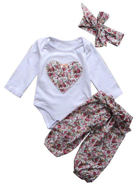 Floral Baby Girl Long-sleeved Blouse Floral Lace Trousers Hair Band Three-piece - WHITE 0-6MONTHS