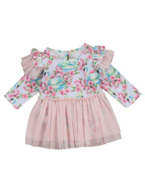 FT1098 Baby Girl Floral Print Mesh Yarn Dress - PINK 6 - 12 MONTHS
