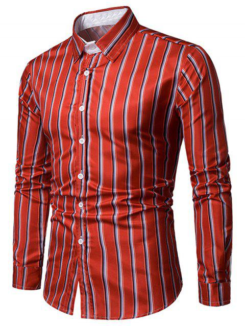 Striped Print Long Sleeves Casual Shirt - RED M