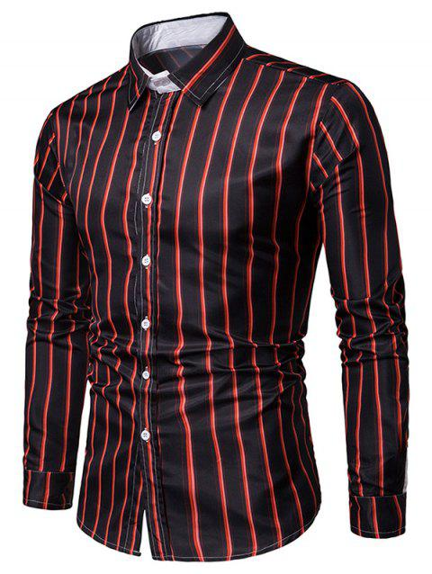 Striped Print Long Sleeves Casual Shirt - multicolor B M