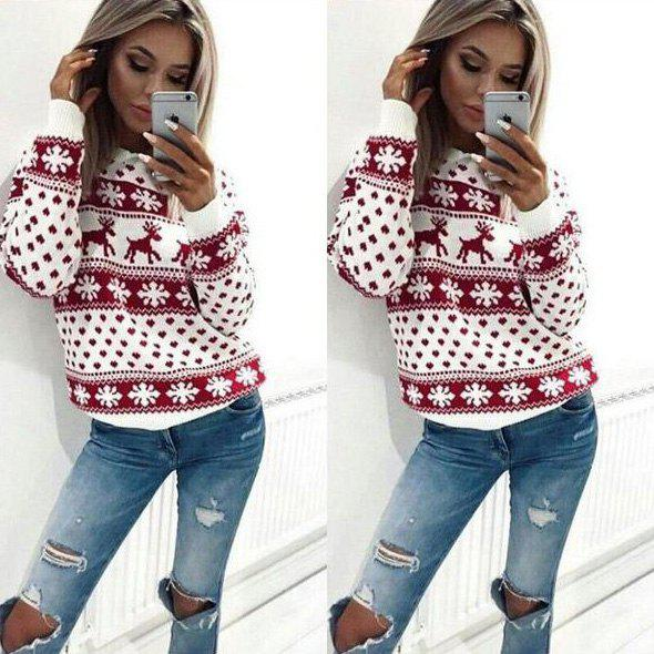 Women Casual Long Sleeve Hoodie Sweatshirt Blouse Tops Hooded T-shirt Pullover Christmas Winter - RED M