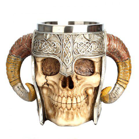 600ml 3D Helmet Skull Mug Double Goat Horn Resin Cup - CAMEL BROWN