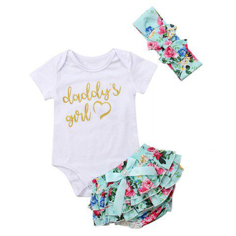 FT1650 Baby Girl Letter Hot Stamping Short-sleeved Bodysuit Three-piece - WHITE 18-24MONTHS