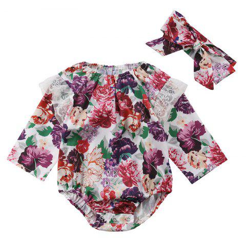 Baby Girl Personality Lace Print Long-sleeved Bodysuit Two-piece - DULL PURPLE 6-12MONTHS