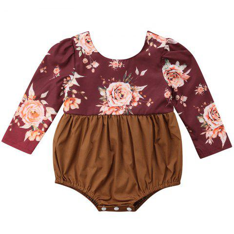 FT1621 Baby Girl Personality Flower Print Stitching Long Sleeve Bodysuit - BROWN SUGAR 18-24MONTHS