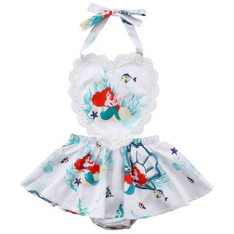 FT1531 Baby Girl Sweet Backless Love Cartoon Print Bodysuit - WHITE 2-3YEARS