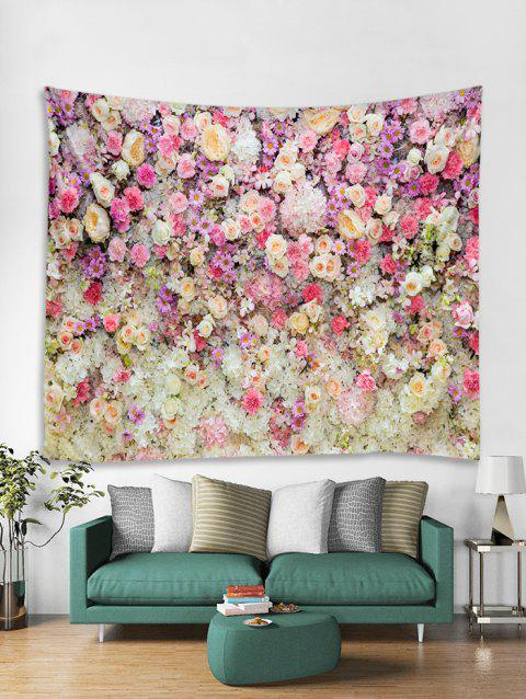 Flowers Print Tapestry Wall Hanging Art Decor - BLOSSOM PINK W91 X L71 INCH