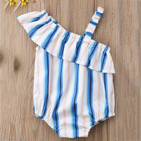 FT1388 Baby Girl Personality Ruffled Off-the-shoulder Striped Bodysuit - WHITE 12-18MONTHS