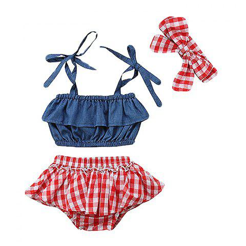 FT1518 Baby Girl Cowboy Ruffled Lace Three-piece - BLUE GRAY 2-3YEARS