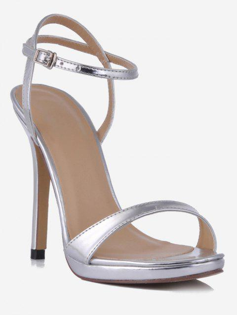 Single Strap Super High Heel Sandals - SILVER EU 37