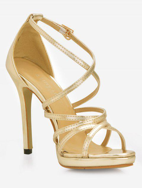 Crisscross Strappy Stiletto High Heel Sandals - GOLD EU 42