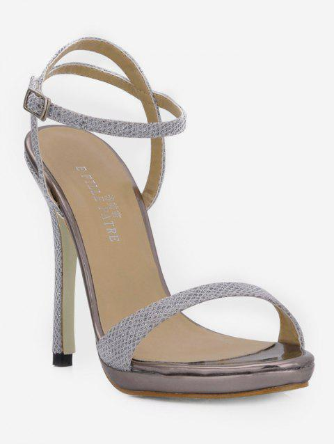 Glitter Super High Heel Sandals - SILVER EU 40
