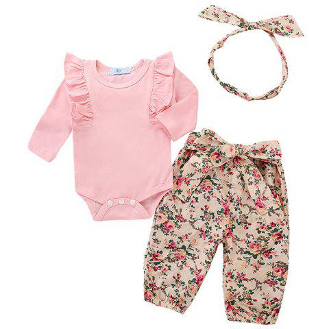 Baby Girl Solid Color Small Flying Long-sleeved Sweet Floral Lace Trousers Hair Band 3pcs - PINK 12-18MONTHS
